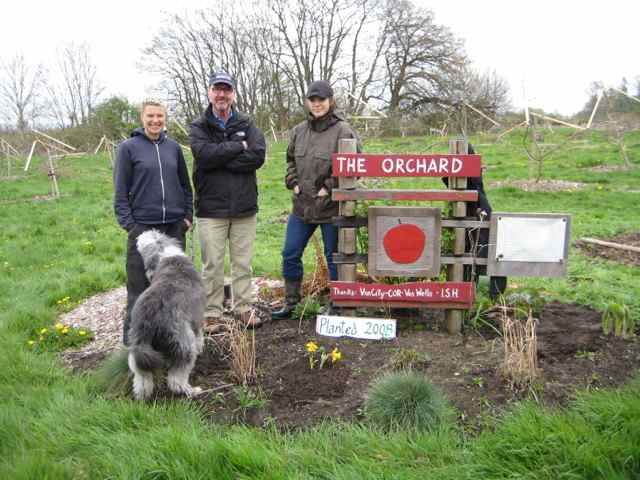 The Sharing Farm Orchard Team in 2012 including (left to right) orchard manager Kimi Hendress, Pomologist and sustainable agriculture expert Kent Mullinix, and Anna Rallings