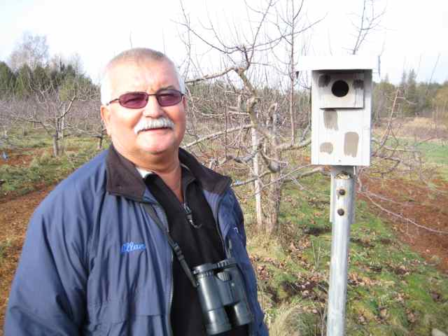 Joe Krall has built, maintained and monitored almost a thousand of these birdboxes over the years...many are standing in organic orchards around Geulph, Ontario