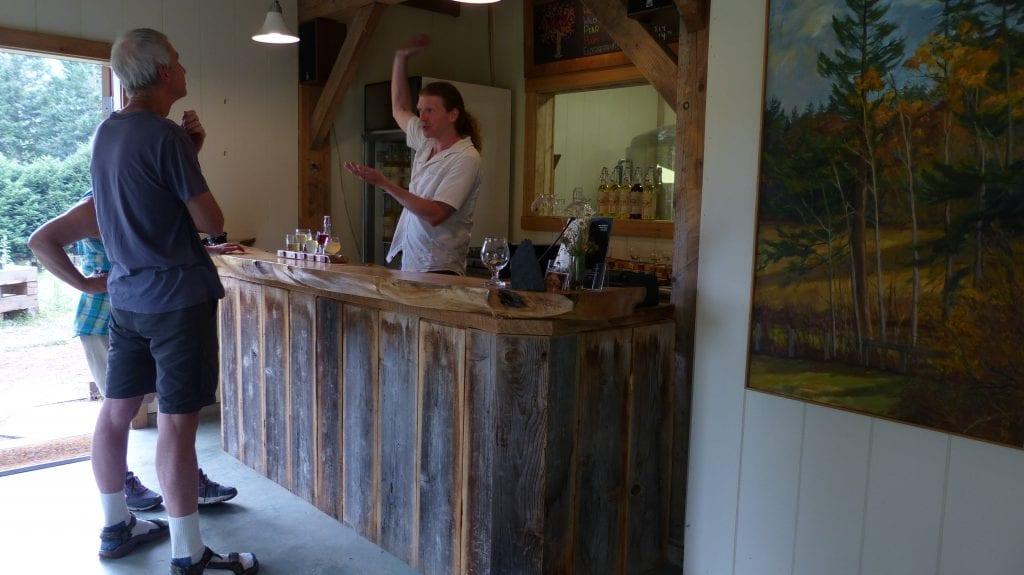 Tasting the ciders at Salt Spring Island Wild Cider.